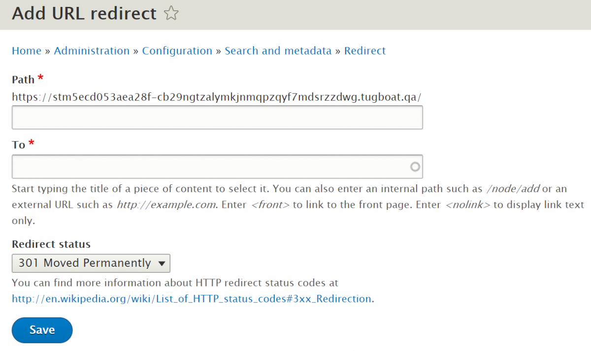 Add a URL redirect on a Drupal website