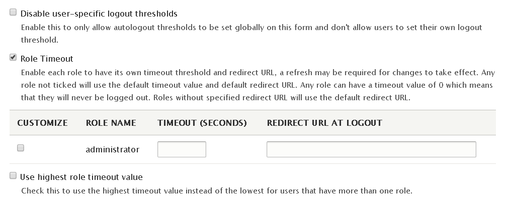 Automated Logout Drupal module - settings for user-specific and role-specific timeouts