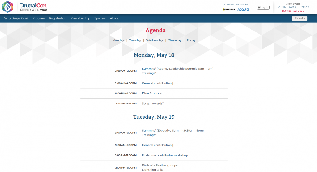 Event schedule example — DrupalCon