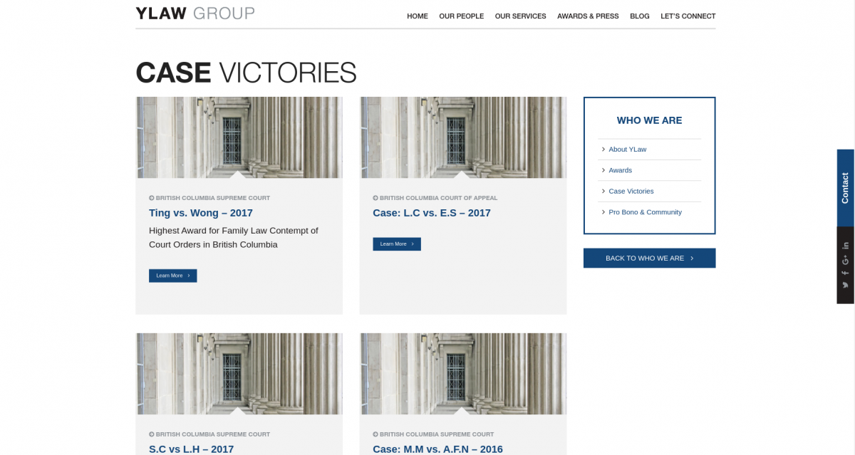 Listing achievements on a law firm website