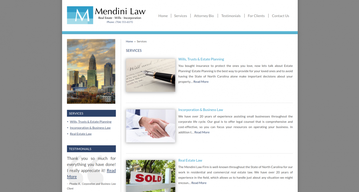 Listing law services clearly on a law firm website