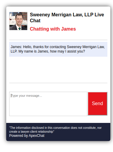 Live chat on a law firm website