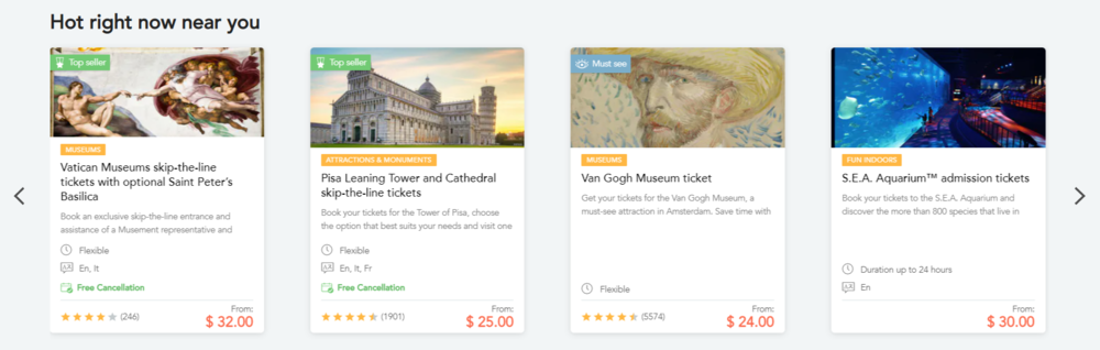 Local search feature on a travel marketplace website
