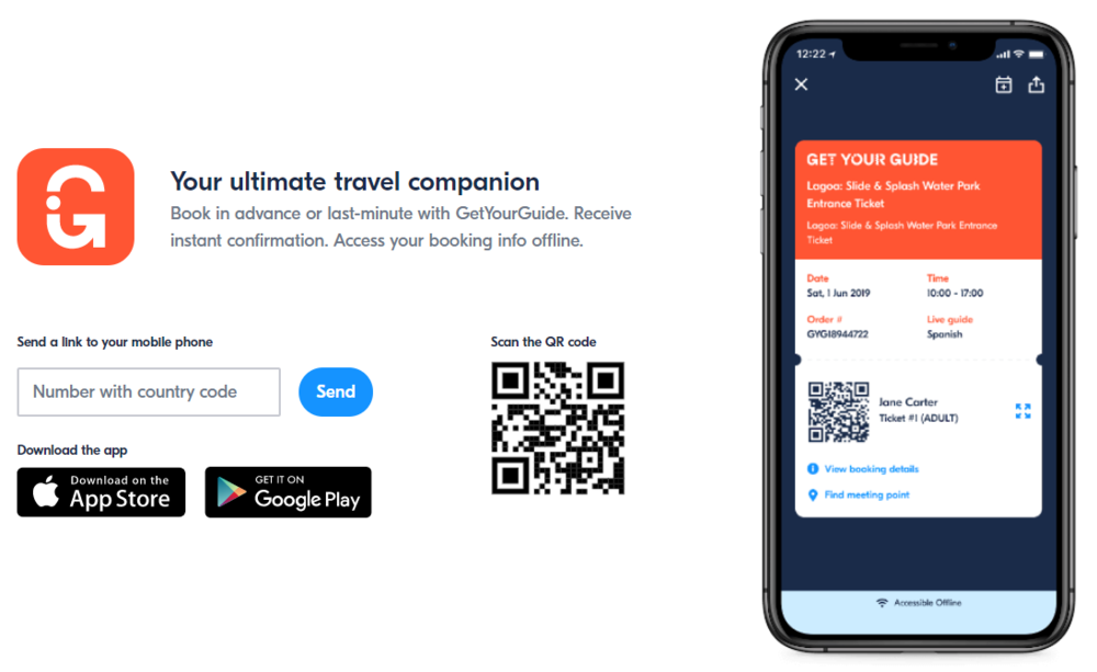 Mobile experiences on a travel marketplace website