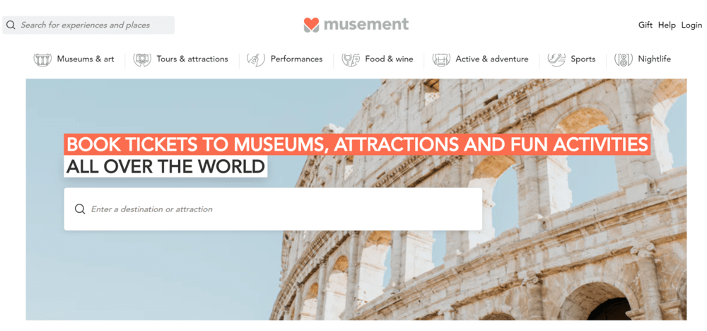 Musement — online travel marketplace examples