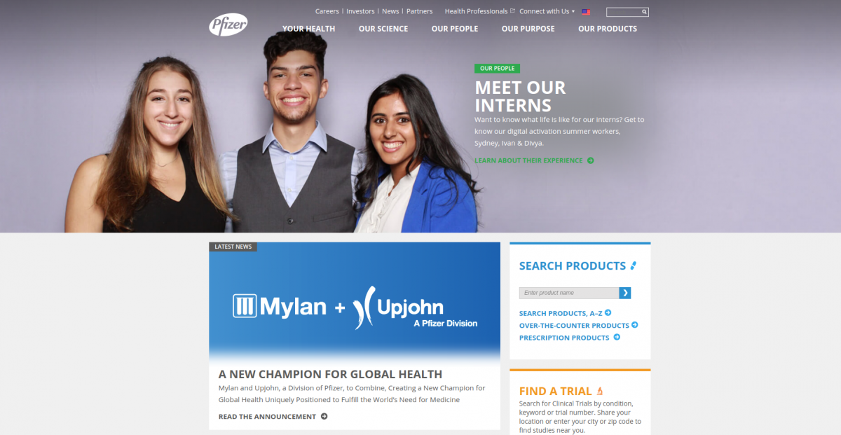 Pfizer website built with Drupal