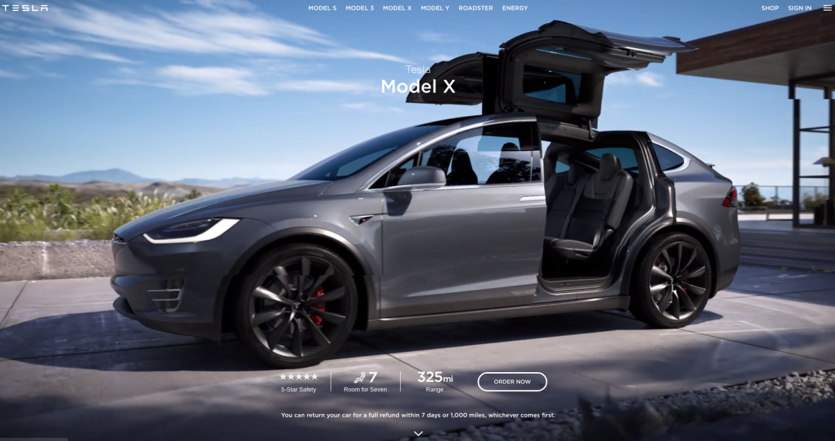 Tesla website built with Drupal