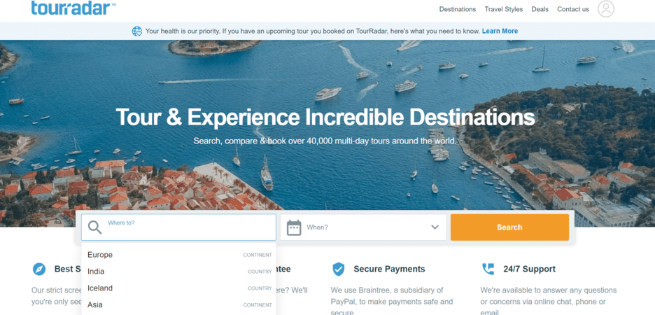 TourRadar — online travel marketplace examples